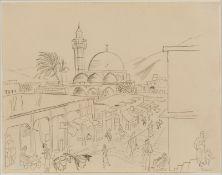 """Bleistiftzeichnung Richard Seewald1889 Choszczno - 1976 München """"Tiberias"""" 1934 u. re. bez. Tiberias"""