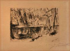 """Radierung Lovis Corinth1858 Tapiau - 1925 Zandvoort """"Tiergarten"""" u. re. sign. Lovis Corinth 13,5 x"""