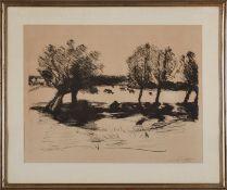 """Lithographie Lovis Corinth1858 Tapiau - 1925 Zandvoort """"Landschaft mit Kühen"""" 1918 u. re. sign."""