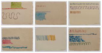 "6 Aquarelle Giorgio Griffageb. 1936 Turin ""o.T."" jew. u. re. sign. u. dat. Giorgio Griffa 79-86 jew."