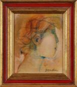 "Mischtechnik Sirio Bandini1929 Piombino - 2009 Cecina ""Portraitkopf im Profil"" u. re. sign."