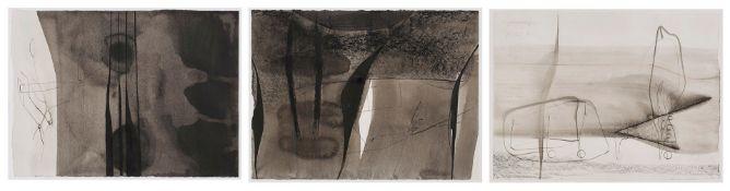 """Drei Zeichnungen Tusche auf PapierTobias Raphael Pils geb. 1971 Linz """"Gärten"""" 2001 Freiliegend,"""