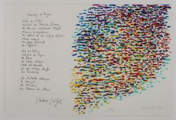 """Farblithographie Piero Dorazio1927 Rom - 2005 Perugia """"Venedig im Regen"""" u. re. sign. u. dat."""