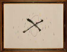 "Farblithographie Antoni Tàpies1923 Barcelona - 2012 Barcelona ""o.T."" u. re. sign. Tapies Exemplar"