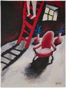 """Gemälde Bernd Pfarr1958 Frankfurt - 2004 Köln """"Interieur"""" um 1990 u. re. sign. Pfarr Öl/Lwd, 80 x 60"""