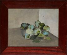 """Gemälde Almut Gernhardt1940 Weimar - 1989 Albarese """"Reneclauden Stillleben"""" verso sign. Almut"""