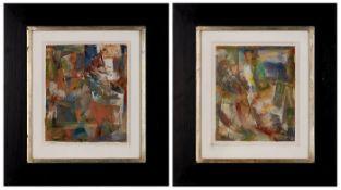 """Paar CollagenKarl Hikade geb. 1942 Wien """"Landscape"""" 1987/88 verso auf dem Auflagekarton sign. u."""