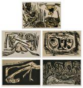 "5 Farblithographien Antonio Saura1930 Huesca - 1998 Cuenca ""o.T."" jew. u. re. sign. Saura"