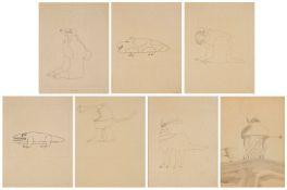 """7 Zeichnungen/SkizzenWohl Heinz Edelmann 1924 Ústí nad Labem - 2009 Stuttgart """"o.T. (Entwürfe für"""