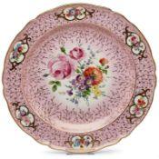 Gr. runde Platte mit Blumenbouquet,