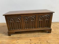 VICTORIAN STYLE OAK COFFER on bracket feet with gothic arch carving on front panel(92cm wide, 46cm h