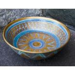 MARY RICH (b. 1940) FOOTED BOWL pale blue / turquoise glaze enriched with gilt, impressed mark 15cm
