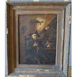 CONTINENTAL SCHOOL (19TH CENTURY) GENTLEMAN SMOKING A PIPE oil on canvas, framed 40cm high, 31cm wid