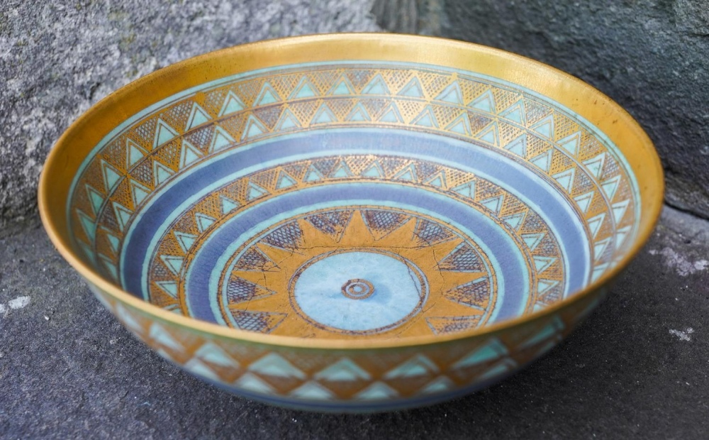 MARY RICH (b.1940) FOOTED BOWL pale blue / turquoise glaze enriched with gilt, impressed mark 18cm d