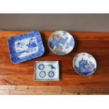 TWO JAPANESE IMARI FOOTED DISHES TAISHO PERIOD 18cm & 15cm diam; together with TWO JAPANESE BLUE