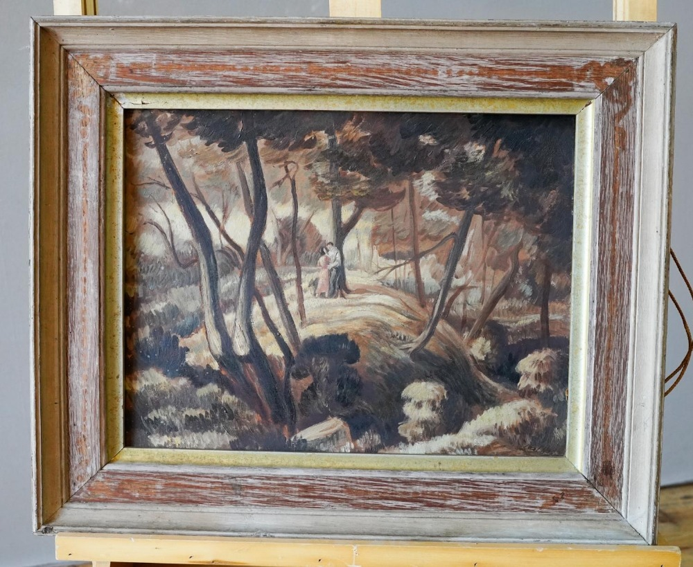 FOLLOWER OF PAUL NASH 'LOVERS IN A WOODLAND' oil on board, signed Paul Nash lower right, framed 28cm
