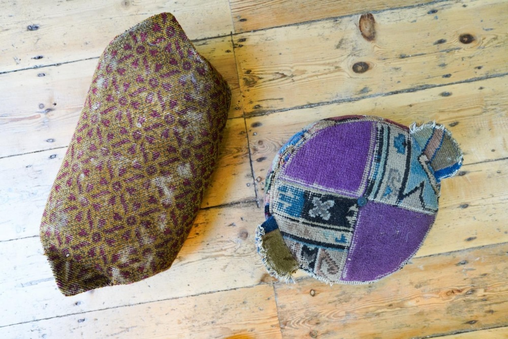 TWO CARPET FOOTSTOOLS EARLY 20TH CENTURY 37cm & 49cm wide
