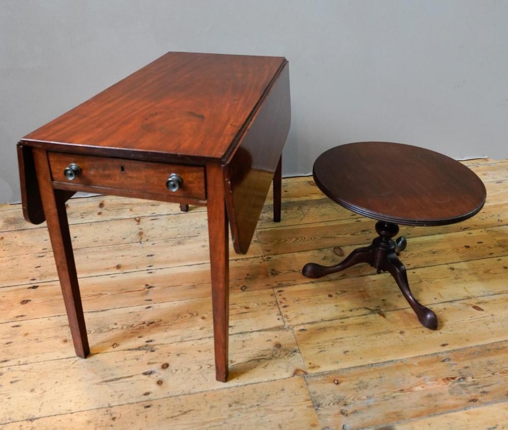 VICTORIAN MAHOGANY 2-DRAWER PEMBROKE TABLE (85cm long,44cm wide,67cm high) AND CIRCULAR MAHOGA
