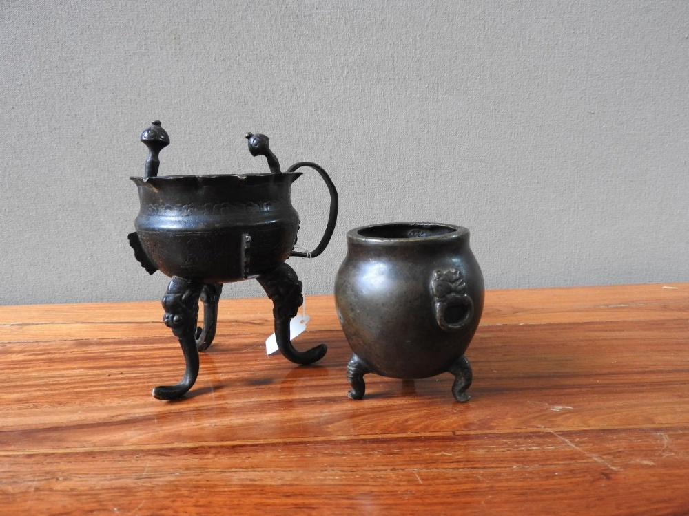 TWO BRONZE CENSERS QING DYNASTY 9.5cm high & 6cm high