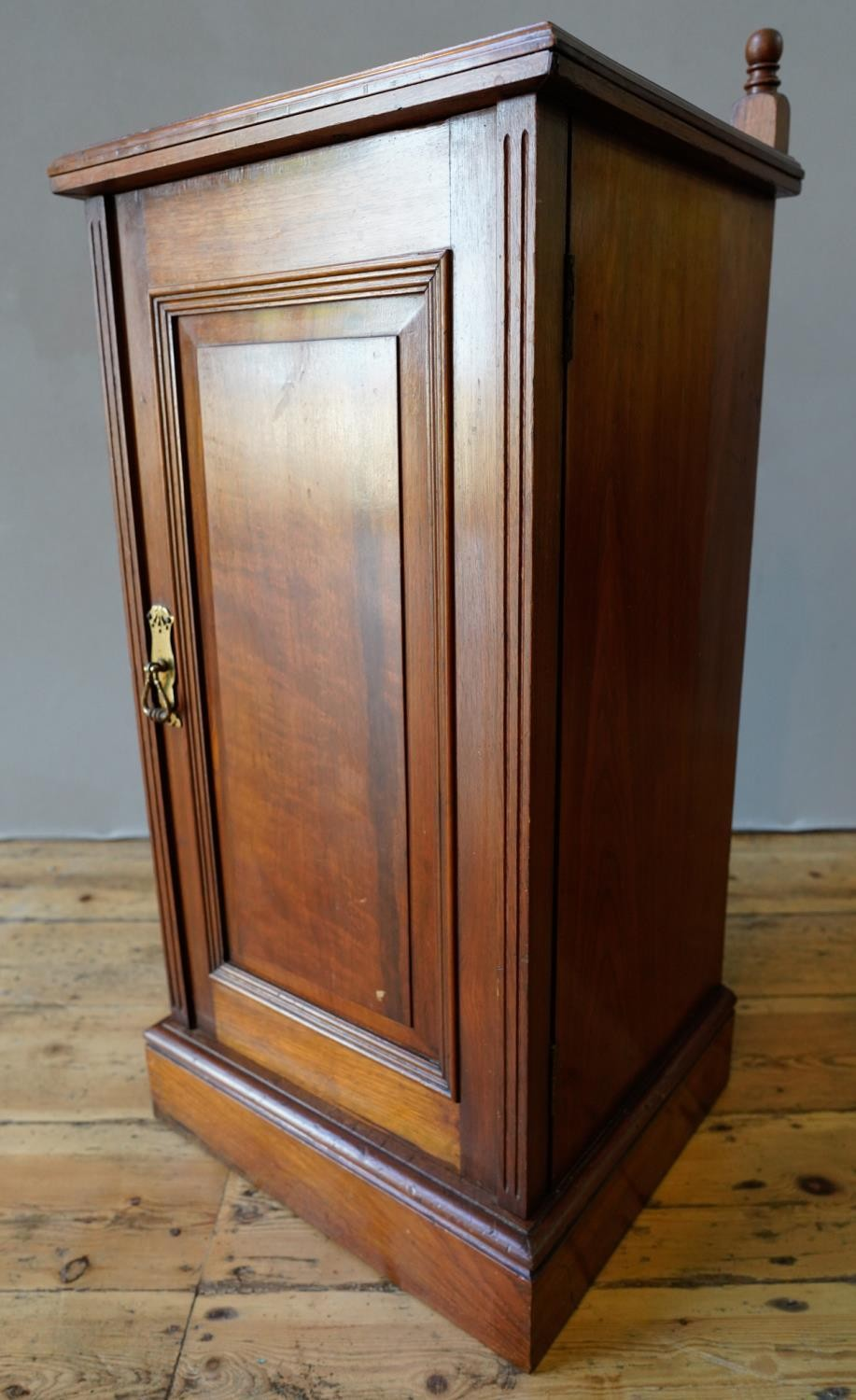 EDWARDIAN MAHOGANY POT CUPBOARD WITH SINGLE PANELLED DOOR AND SERPENTINE GALLERY BACK (39.5cm wide,8