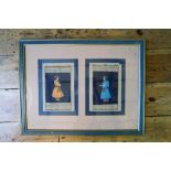 TWO FRAMED INDIAN MINIATURES 19TH CENTURY form manuscript's each 24cm high, 16cm wide