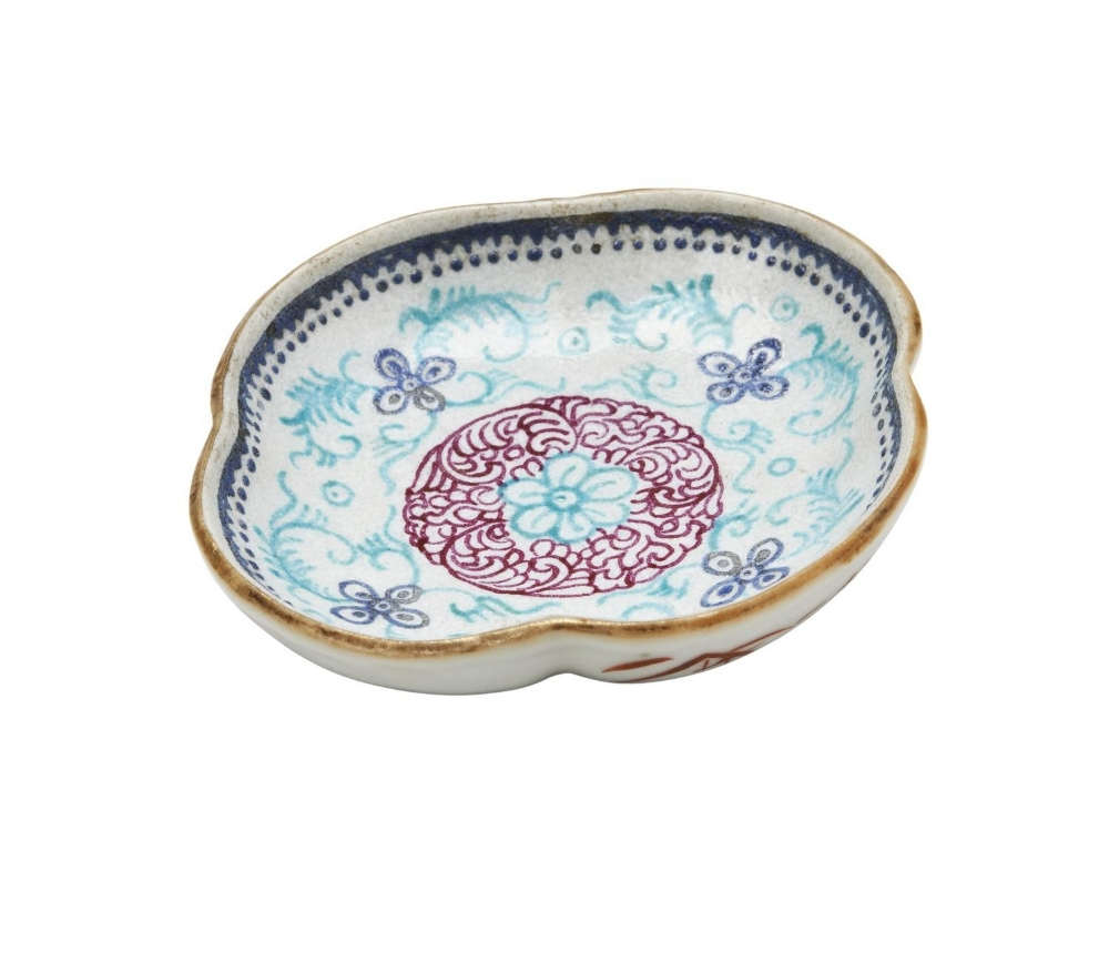 SMALL FLORIFORM DISH QIANLONG RED SEAL MARK AND PROBABLY OF THE PERIOD decorated with stylized