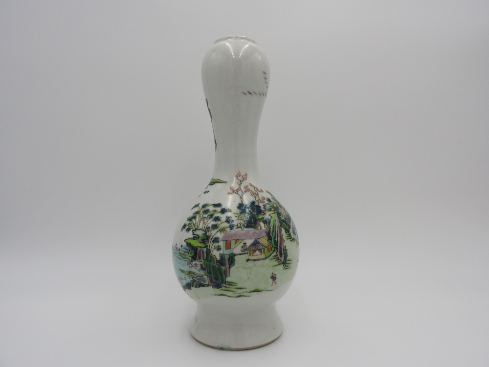 FAMILLE VERTE GARLIC MOUTH VASE QING DYNASTY, 19TH CENTURY the baluster sides painted with a - Image 2 of 3