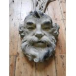 LARGE CONTEMPORARY PAINTED MASK WALL NICHE DEPICTING POSEIDON WITH LENGTHS OF ROPE ATTACHED (43cm