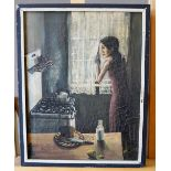 BRITISH SCHOOL (20TH CENTURY) FIGURE IN A KITCHEN oil on canvas, signed 43cm high, 34cm wide