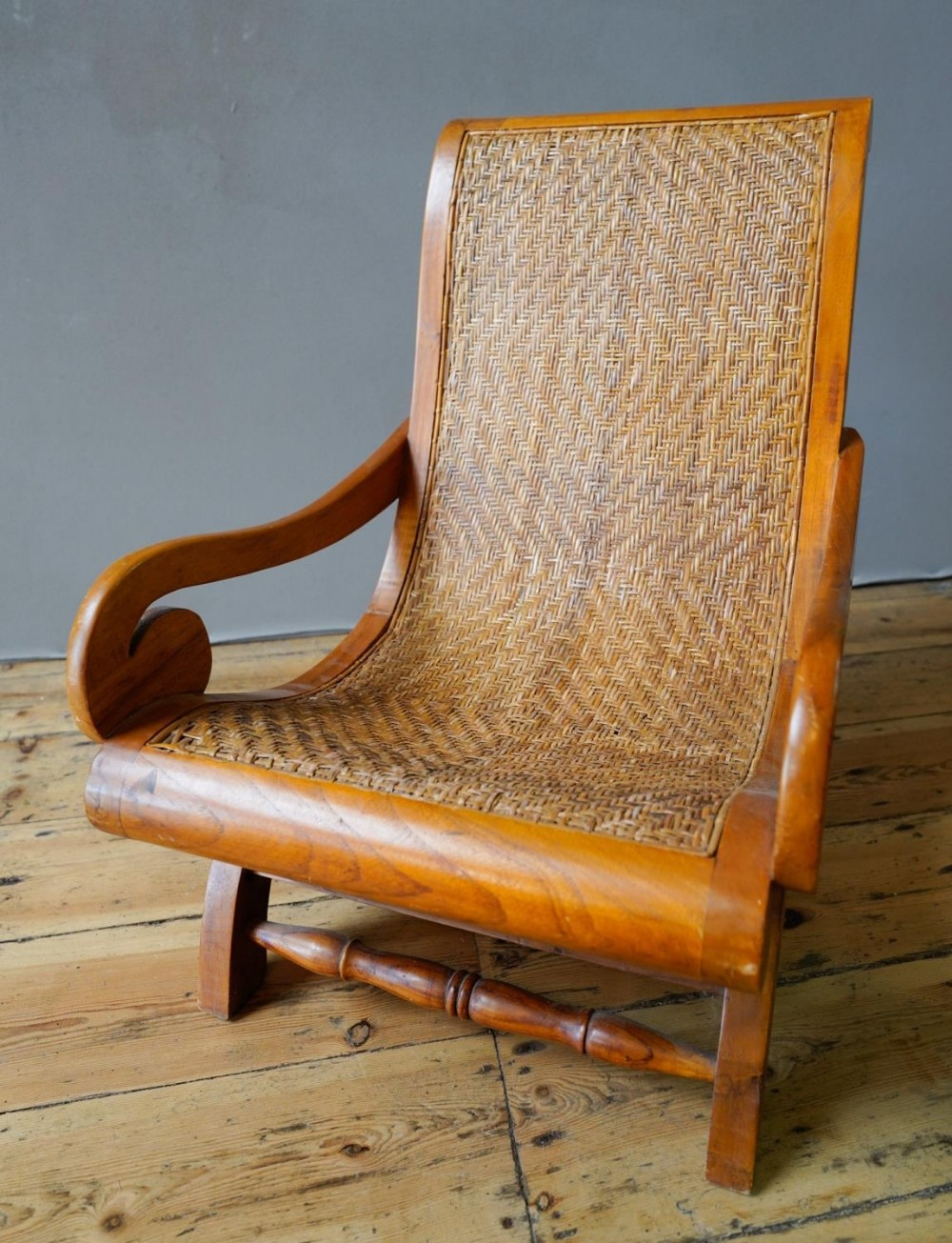 HARDWOOD SCROLL ARM CHILDS CHAIR, with cane seat and back (45cm wide, 68cm high, 58cm deep)