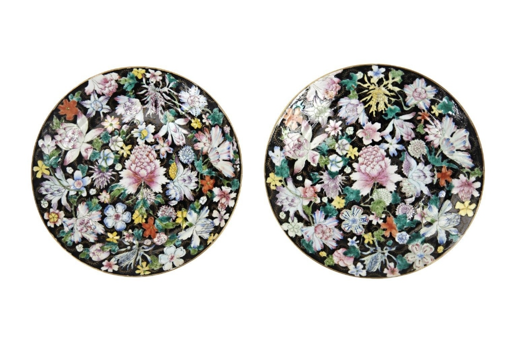 PAIR OF FAMILLE NOIRE 'MILLEFLEUR' DISHES GUANGXU SIX CHARACTER MARK AND OF THE PERIOD painted in