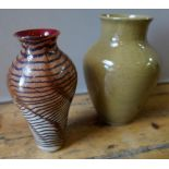 STUDIO POTTERY 'TEADUST' GLAZE BALUSTER VASE 20TH CENTURY signed, 22cm high; together with a MURANO