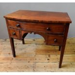 VICTORIAN MAHOGANY 3-DRAWER BOW-FRONTED LOW BOY, (92cm wide, 81cm high, 52cm deep)