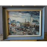 ATTRIBUTED TO GEORGE HANN (1900-1979) FISHING VILLAGE; oil on board, framed 50cm high, 67cm wide