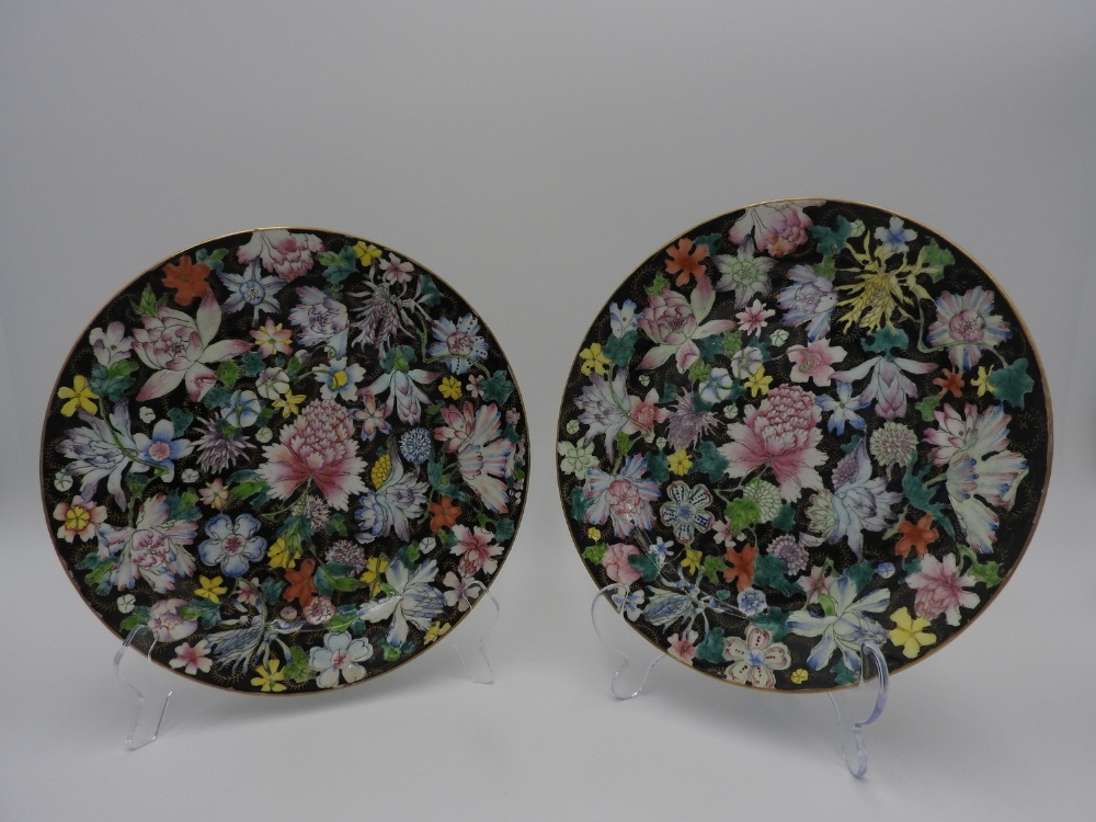 PAIR OF FAMILLE NOIRE 'MILLEFLEUR' DISHES GUANGXU SIX CHARACTER MARK AND OF THE PERIOD painted in - Image 3 of 3