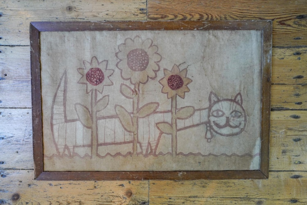 NAIVE PAINTING ON SILK EARLY 20TH CENTURY depicting a cat amongst sunflowers 39cm high, 60cm wide