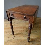 VICTORIAN MAHOGANY PEMBROKE TABLE ON TURNED LEGS, with drawer (88cm long, 52cm wide, 70cm high)