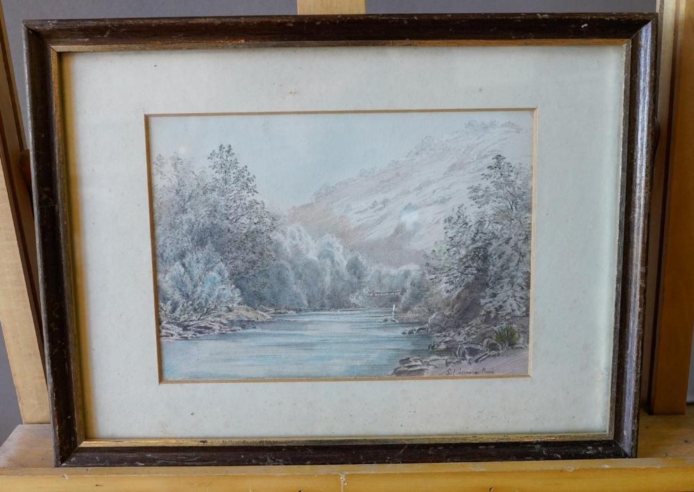 ATTRIBUTED TO SAMUEL JOHN LAMORNA BIRCH (1869-1955) FIGURE ON A BRIDGE IN A MOUNTAIN LANDSCAPE water