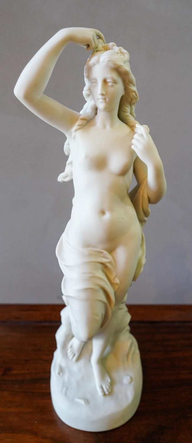 19th CENTURY COPELAND PARIAN WARE FIGURE OF GREEK MAIDEN (46cm high) MODELLED BY L.A MALEMPRE,