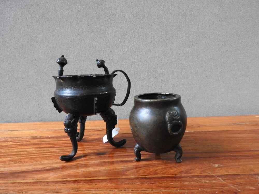 TWO BRONZE CENSERS QING DYNASTY 9.5cm high & 6cm high  - Image 2 of 2