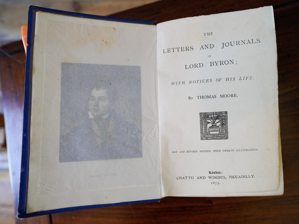 'BYRON'S LIFE LETTERS' HARDBACK BOOK by THOMAS MOORE, published 1875