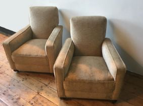 A PAIR OF VINTAGE DEEP SEATED UPHOLSTERED ARMCHAIRS 83cm x 75cm x 80cm