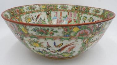 LARGE CHINESE FAMILLE ROSE BOWL LATE QING DYNASTY decorated in the typical palette 38cm diam