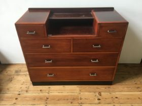 1930's MAHOGANY FRONT DROP-WELL DRESSING CHEST, 4 short drawers over 2 long drawers 94 x 114 x