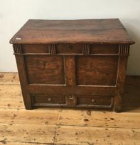 AN 19th CENTURY FRUIT WOOD COFFER WITH DRAWER 73 x 95 x 58 cms
