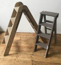 FOLDING PINE 8-TREAD STEP LADDER, with heavy duty iron hinges, 122cm high, with a smaller painted