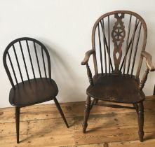 5 SPINDLE BACK STRETCHER BAR DINING CHAIRS AND WHEEL BACK CARVER CHAIR