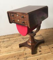 VICTORIAN MAHOGANY PEDESTAL DROP-LEAF SEWING TABLE, with two drawers and pull out storage