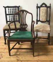 SPINDLE BACK TAPESTRY SEAT CHAIR, STRETCHER BAR ELBOW CHAIR AND JACOBEAN STYLE CHAIR