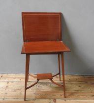 19th CENTURY MAHOGANY & WALNUT CROSS BANDED INLAID FOLDING SWIVEL TOP OCCASIONAL TABLE (55cm long,